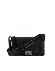 Chanel Black Felt with Embroideries Boy Chanel Flap Bag