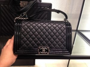 Chanel Black Goatskin with Patent Trim Boy New Medium Bag