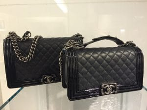 Chanel Black Goatskin with Patent Trim Boy New and Old Medium Bags