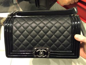 Chanel Black Goatskin with Patent Trim Boy Old Medium Bag 2