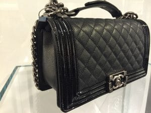 Chanel Black Goatskin with Patent Trim Boy Old Medium Bag 3