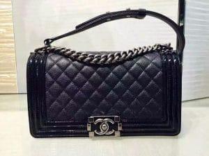 Chanel Black Goatskin with Patent Trim Boy Old Medium Bag