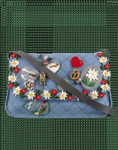 Chanel Blue Felt with Embroideries Australian Satchels Bag