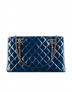 Chanel Blue Patent Tote Large Bag