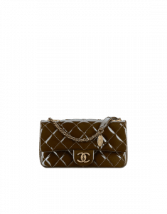 Chanel Brown Patent with Medallion Flap Bag