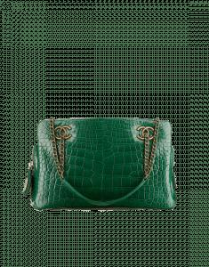 Chanel Green Alligator Small Shopping Bag