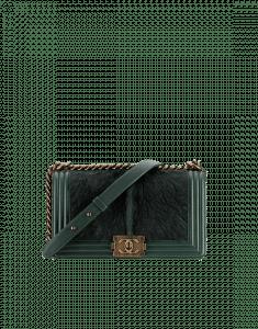 Chanel Green Calf Hair Boy Chanel in Salzburg Flap Classic Medium Bag