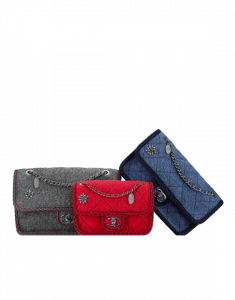 Chanel Grey/Red/Blue Wool with Braid and Edelweiss Flap Bags