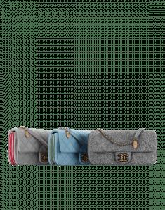 Chanel Grey/Sky Blue Felt/Grosgrain Flap with Medallion Small Bags