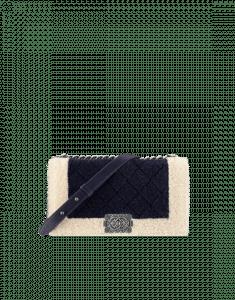Chanel Ivory/Black Shearling Boy Chanel in Salzburg Flap Classic Medium Bag