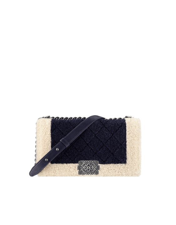 Chanel Ivory Black Shearling Boy Chanel in Salzburg Flap Classic Medium Bag 03ea256f5764b