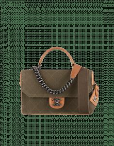 Chanel Khaki Fabric Flap Bag