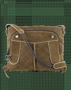 Chanel Khaki Suede CC Hunting Messenger Bag