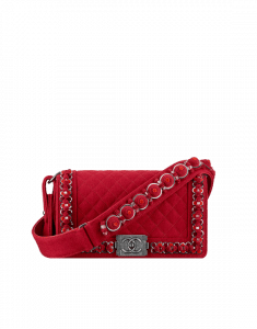 Chanel Red Felt with Embroideries Boy Chanel Flap Bag