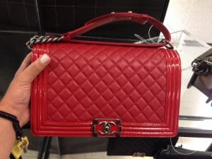 Chanel Red Goatskin with Patent Trim Boy New Medium Bag 2