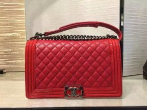 Chanel Red Goatskin with Patent Trim Boy New Medium Bag
