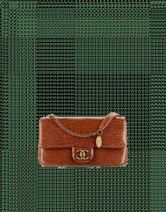 Chanel Tan Alligator with Medallion Flap Bag