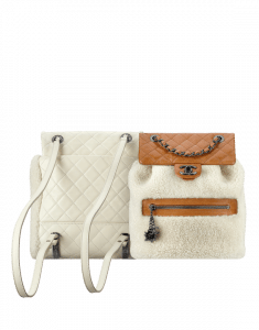 Chanel White Calfskin/Shearling Backpack Mountain Bags