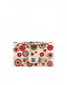 Chanel White Embellished Felt Classic Flap Bag