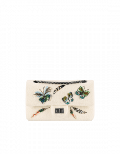 Chanel White Felt with Butterfly:Feather 2.55 Reissue 225 Flap Bag