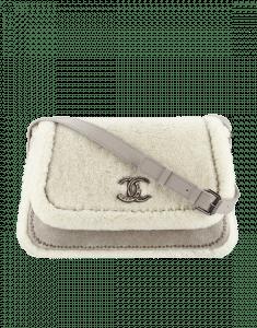 Chanel White Lambskin/Shearling Australian Satchels Bag
