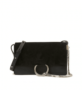 Chloe Black Suede/Calfskin Faye Clutch Small Bag