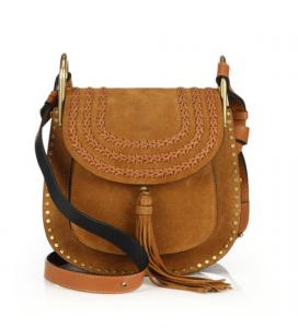 Chloe Caramel Suede Studded/Braided Hudson Small Bag
