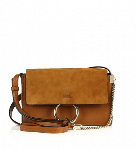 Chloe Classic Tobacco Suede/Calfskin Faye Clutch Small Bag