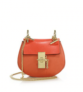 Chloe Coral Pop Textured Leather Drew Nano Bag