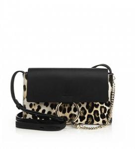 Chloe Leopard Print Calf Hair/Leather Faye Small Bag