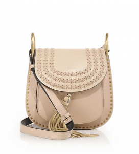 Chloe Natural Leather Studded:Braided Hudson Small Bag
