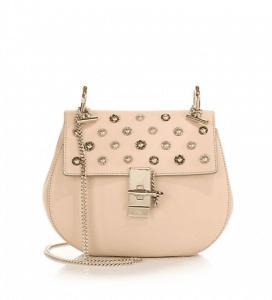 Chloe Pink Embellished Drew Small Bag