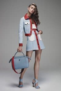 Fendi Light Blue with Red Strap Tote Bag - Resort 2016