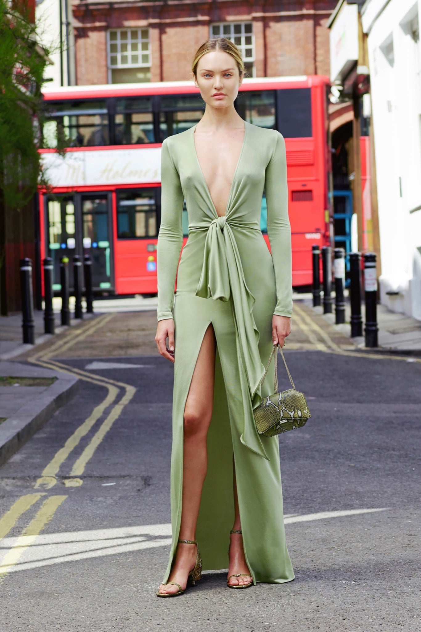 Givenchy Mint Green Long Gown And Snakeskin Flap Bag Resort 2016