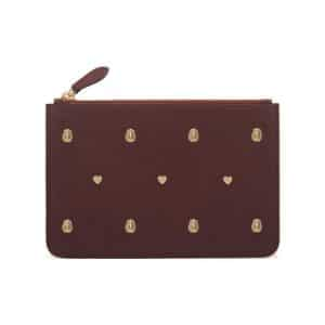Mulberry Oxblood Cara Delevinge with Rivets Small Pouch Bag