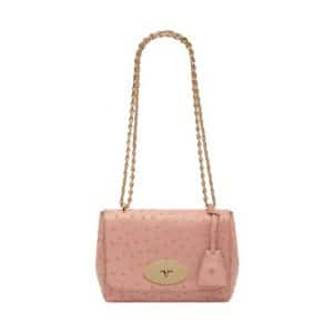 Mulberry Rose Petal Ostrich Lily Bag