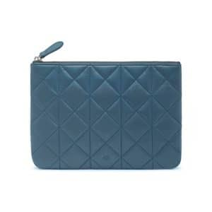 Mulberry Steel Blue Quilted Cara Delevingne Small Pouch Bag