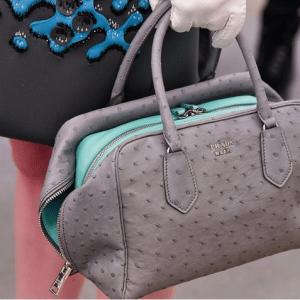 Prada Grey/Turquoise Ostrich/Calfskin Inside Bag