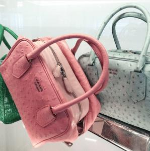 Prada Pink Ostrich/Calfskin and Light Blue Ostrich Inside Bags