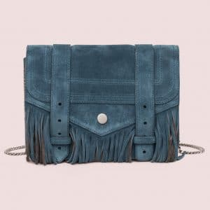 Proenza Schouler Baltic Green:Pepe Suede Fringe PS1 Large Chain Wallet