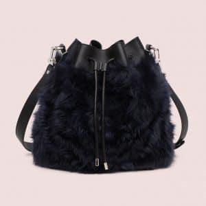 Proenza Schouler Black/Navy Shearling/Lamm Leather Large Bucket Bag