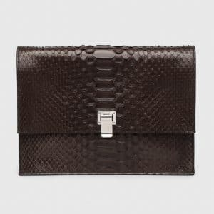 Proenza Schouler Brown Python Large Lunch Bag