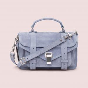 Proenza Schouler Polar Blue Suede PS1 Tiny Bag