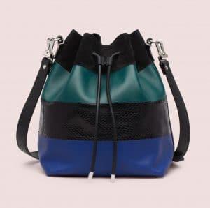 Proenza Schouler Ultramarine/Dark Teal Ayers/Suede/Leather Large Bucket Bag