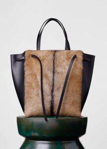 Celine Black/Brown Goat Fur Cabas Phantom with Belt Medium Bag