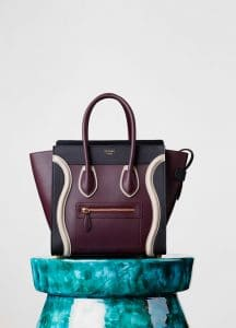 Celine Burgundy/Black/White Micro Luggage Bag