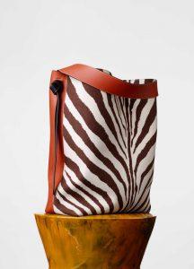 Celine Chalk/Brick Calfskin and Zebra Printed Felt Oversized Twisted Cabas Bag