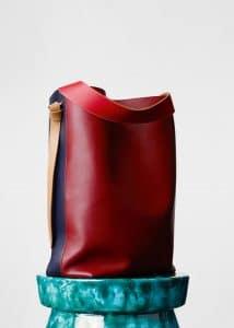 Celine Dark Ruby/Navy Oversized Twisted Cabas Bag