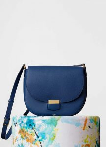 Celine Deepsea Grained Calfskin Trotteur Medium Bag