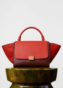 Celine Light Ruby/Red/Brick Smooth Calfskin Trapeze Small Bag